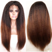 N.L.W. Brazilian virgin human hair full lace wigs for black women Kinky straight Ombre colour human hair wigs with baby hair 30cm