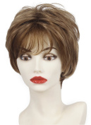 Short Layered Side Bangs Pixie Capless wig Fluffy Ash Brown Golden Blonde Auburn for Senior Ladies with thinning hair