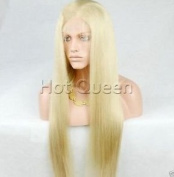 HotQueen Indian Remy Silk Straight Blonde Human Hair Lace Front Wig Wigs Bleach Blonde