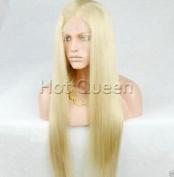 HotQueen Indian Remy Silk Straight Blonde Human Hair Lace Front Wig Wigs Bleach Blonde