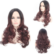 SmartFactory Long Black Redish Fading Colour Kindly Curly Wavy Synthetic Human Hair Synthetic Fibre Wig for Cosplay