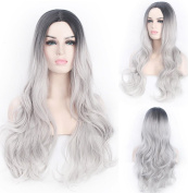 SmartFactory Grey White Fading Colour Long Kindly Curly Wavy Synthetic Human Hair Synthetic Fibre Wig for Cosplay