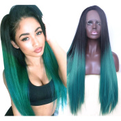 Keepyonger Synthetic Lace Front Wig Long Straight Omber Black to Green Lace Wigs for Women