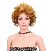 Aoert Short Blonde Ombre Curly Wig Hair Replacement Wig Heat Resistant Synthetic Cosplay Wigs for Women 20cm