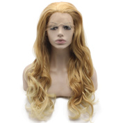 Mxangel Long Wavy Synthetic Hair Lace Front Two Tone Ombre Blonde Natural Wig