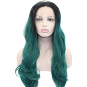 Aoert Lace Front Ombre Green Body Wave Long Heat Resistant Synthetic Wigs for Women Hair Replacement Wig 70cm
