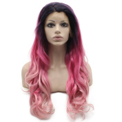 Mxangle Long Wavy Ombre Pink Three Tone Synthetic Lace Front Cosplay Party Wig Natural