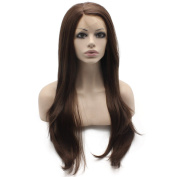 Mxangel Long Straight Half Heat Safe Fibre Hair Brown Mix Lace Front Synthetic Wig Natural