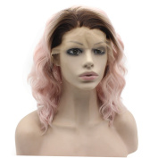 Mxangel Shoulder Length Heat Friendly Synthetic Lace Front . Ombre Lace Front Wig Pink