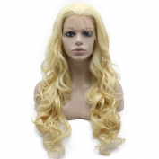 Mxangel Long Wavy 613 Blonde Hand Tied Synthetic Hair Lace Front Wig Natural