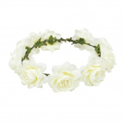 ieasysexy Women Girl Boho Summer Garland Wedding Rose Flower Wreath Headband Floral Crown Garland Halo