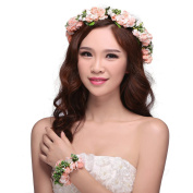 ieasysexy Women Lady Girl's Bohemian Boho Flower Floral Crown Headband Garland Halo Hair Band with Wrist Band Set For Wedding Festival Party