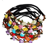 ieaysexy 7Pcs Flower Headband Crown with Adjustable Elastic Ribbon for Women Girls Festival Party