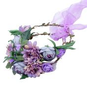 AWAYTR Fashion Flower Crown - New Purple Ribbon Adjustable Flower Headband Hair Wreath Garland