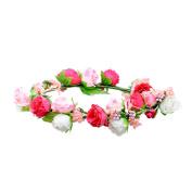 AWAYTR Flower Crown Headband - Women Bohemia Floral Headpiece Flower Halo Garland