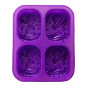 Gosear Silicone Soap Mould Angel Pattern 4-hole Rectangular Handmade Soap Making DIY Mould Accessory Purple