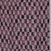 Maroon Circular Embroidered Stretch Mesh, Fabric Sold By the Yard