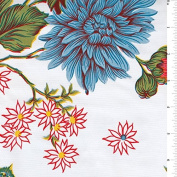 White Floral Oilcloth, Fabric Sold By the Yard