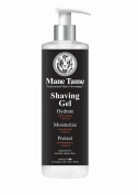 Mane Tame Shave Gel 470ml – Shaving Lube And Skin Conditioners For The Perfect Edge Ups On Dry And Wet Skin! A Fresh Leathery, Woody Sweet Scent Women Love – Clear Shave Gel, Non-Foaming