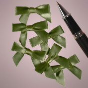 Mini Old Willow Green Satin Bows - 3.5cm Width