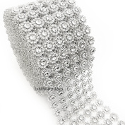 LolaSaturdays 10cm x 9.1m Diamond Rhinestone Ribbon Wrap Roll- Cake and party decoration
