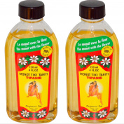 Monoi Tiki Tahiti Tipanie Frangipani Coconut Oil (Pack of 2), Scented With Fresh Handpicked Tiare Flowers, 100% Made in Tahiti, 120ml