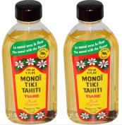 Monoi Tiare Tahiti Tiare Gardenia Coconut Oil (Pack of 2), Scented With Fresh Handpicked Tiare Flowers, 100% Made in Tahiti, 120ml