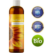100% Pure Sunflower Seed Oil Anti-Ageing Natural Skin Care and Hair Conditioner Health Beauty Carrier Oil for Aromatherapy Essential Oils Massage Therapy Oil with Antioxidant Vitamin E Moisturiser