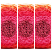 3 Skeins Bernat Pop Yarn in Scarlet Sizzle 84001