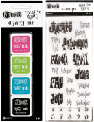 Dylusions Dyan Reaveley's Creative Dyary Accesssories Bundle - Dyary Ink Set and Dyary Stamps