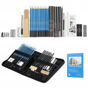 Art Set, Magicfly 41 Pcs Drawing Pencils and Sketch Set in Pop Up Zipper Case Includes Sketch Book, Graphite Pencils, Pastel, Charcoal Pencils, and Accessories , Art supplies for Drawing