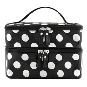 Fashionzone Cosmetic Bag Double Layer Dot Pattern Travel Toiletry Bag Organiser With Mirror