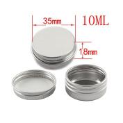 Skhls Portable Empty Cosmetic Silver Aluminium Pot Jar Tin Lip Gloss Makeup Container Storage Box,