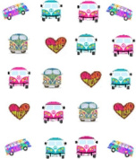 40 1960's Retro VW Bus Waterslide Nail Decals/Nail art