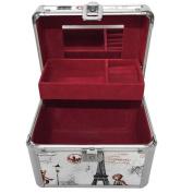 Practical Aluminium Makeup Train Case Jewellery Box Cosmetic Organiser Make up Case