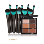 Makeup Brushes NatureBeauty 6-Colour Concealer Primer +10 Black Handle Blue Head Brushes