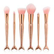 Coshine 6pcs/set Rose Gold Mermaid Nylon Hair Makeup Brush Set, for Foundation, Eyeshadow, Blush, Cream, Concealer, Loose Powder,