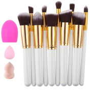 Makeup Brushes Set Premium Makeup Brush Kit Synthetic Kabuki Cosmetics Foundation Blending Blush Eyeliner Face Powder Lip Brush with 2 Makeup Sponges + 1pc Brush Cleaner