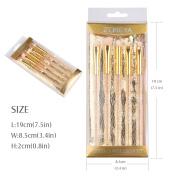 Zoreya Luxury Professional Crystal Handle 5pcs Makeup Brush Set Acrylic Cosmatic Bursh Sets Concealer Brush Elegant Eye Shadow Brush Blending Brush Eye Brow Brush Eyliner Brush