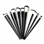DOITOP 10Pcs Black Unicorn Make Up brushes Foundation Eyebrow Eyeliner Blush Cosmetic Concealer Brushes Super Soft Hair