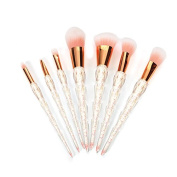 DOITOP 7pcs Professional Crystal Makeup Brushes Cosmetic Brushes Kit Powder Foundation Eyebrow Blush Concealer Eyeliner Blending Brush with Golden Powder Smooth Handle