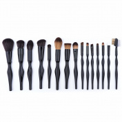 BeautyKate 15 pcs Perfect-Curve Patent Black Makeup Brushes Set,Premium Anti-Allergic Synthetic Brush for Eyeliner Powder Blending Blush