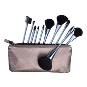 Presale Beauty Kate 10pcs Goblet Makeup Brushes Set (Steel-blue) with Cosmetic Bag