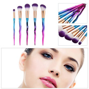 Mmrm 5Pcs Colourful Aluminium Handle Brush Set Foundation Eyeshadow Contour Brush Tool