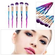 Mmrm 5Pcs Colourful Aluminium Handle Brush Set Foundation Eyeshadow Contour Brush Tool
