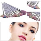 Mmrm 10Pcs Makeup Thread Rainbow Brush Set Foundation Eyeshadow Contour Brush Tool