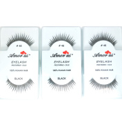 3 Pairs AmorUs 100% Human Hair False Long Eyelashes Med # 46 + FREE EARRING