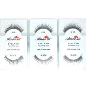 3 Pairs AmorUs 100% Human Hair False Long Eyelashes Med # 46 + FREE EARRING