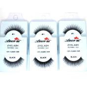 3 Pairs AmorUs 100% Human Hair False Medium Size Eyelashes # 1 + Free Earring