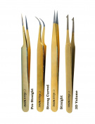 Alluring Gold Tweezers for Eyelash Extension for Volume Lashes 3D - 1 tweezer only.